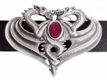 Opposing Dragons Pewter Belt Buckle with Amethyst-coloured Stone BB504